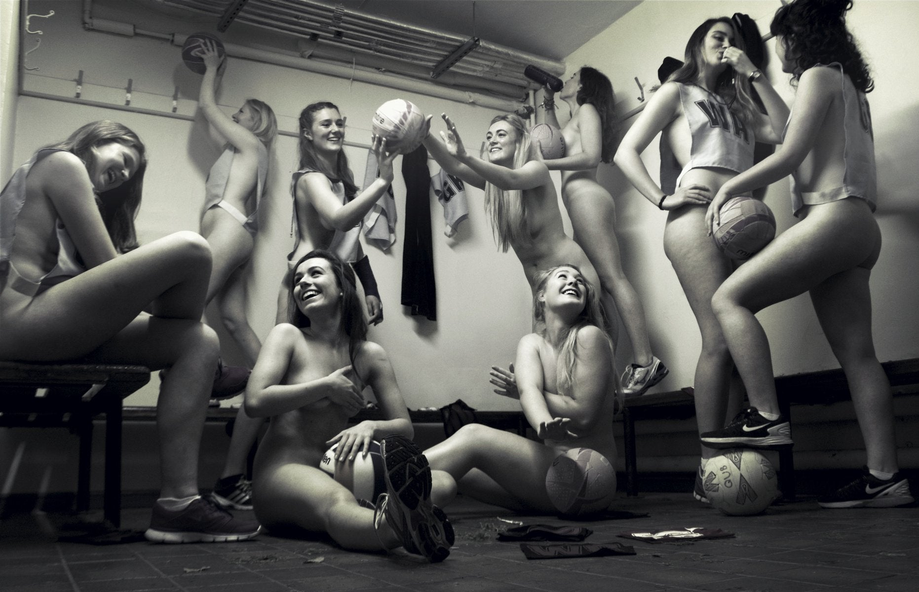 Nude in locker room after volleyball