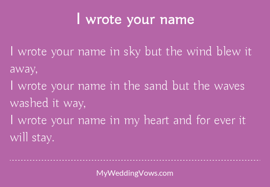 I wrote your name poem