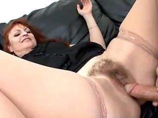Hairy mature takes monster cock